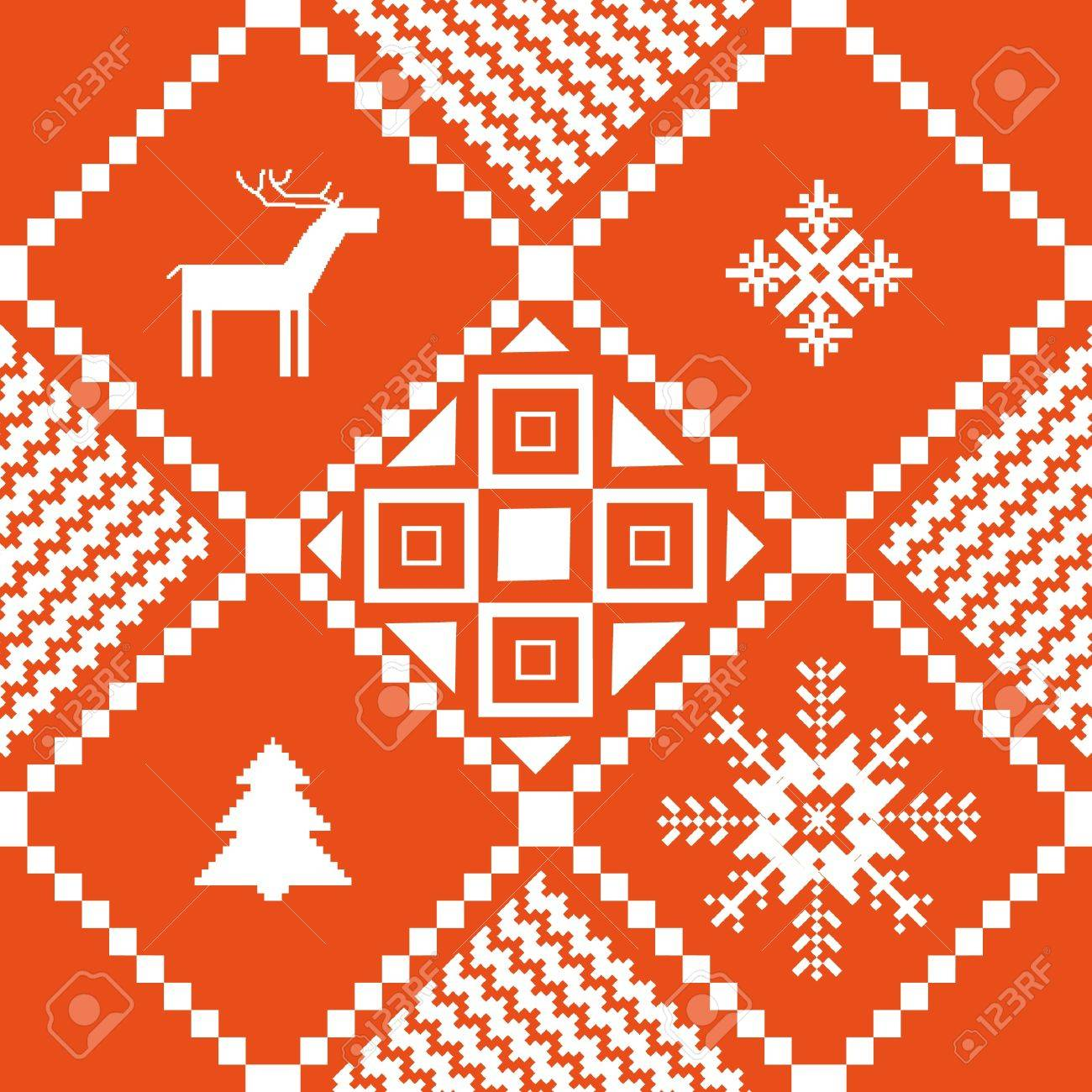Traditional Norway Christmas Ornamental Knitted Pattern Royalty Free ...