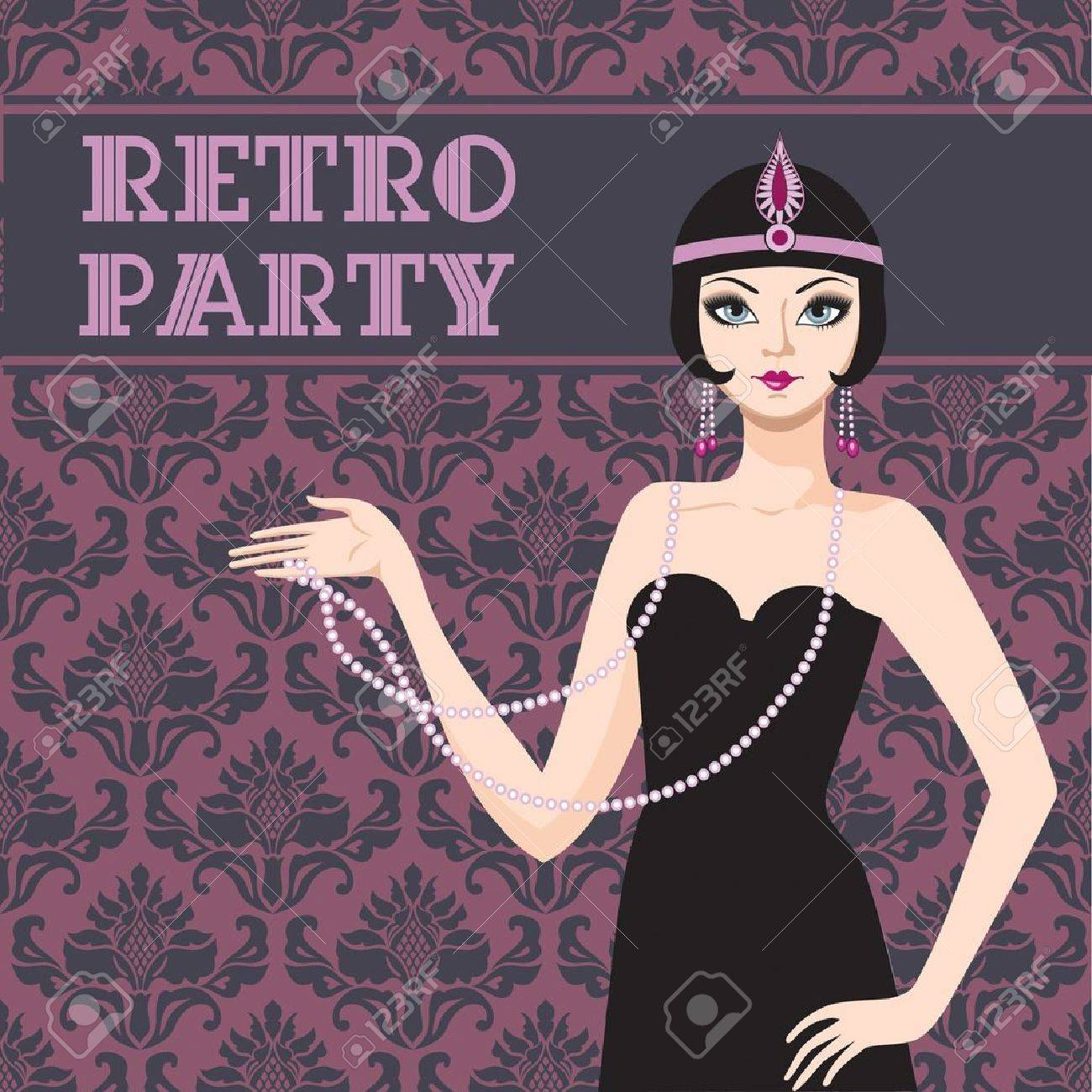 Retro party invitation card beatyful woman 20s Stock Vector - 16702148