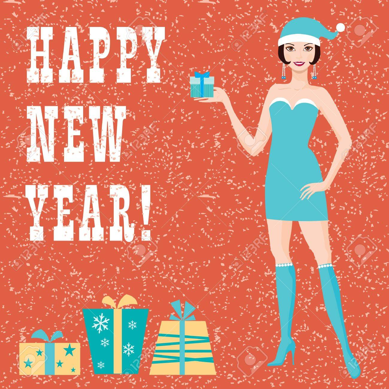 Happy new year greeting card with santa girl Stock Vector - 16966641