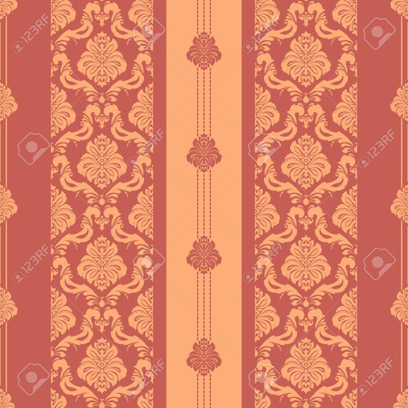 Classic seamless floral damask striped wallpaper Stock Vector - 16969154