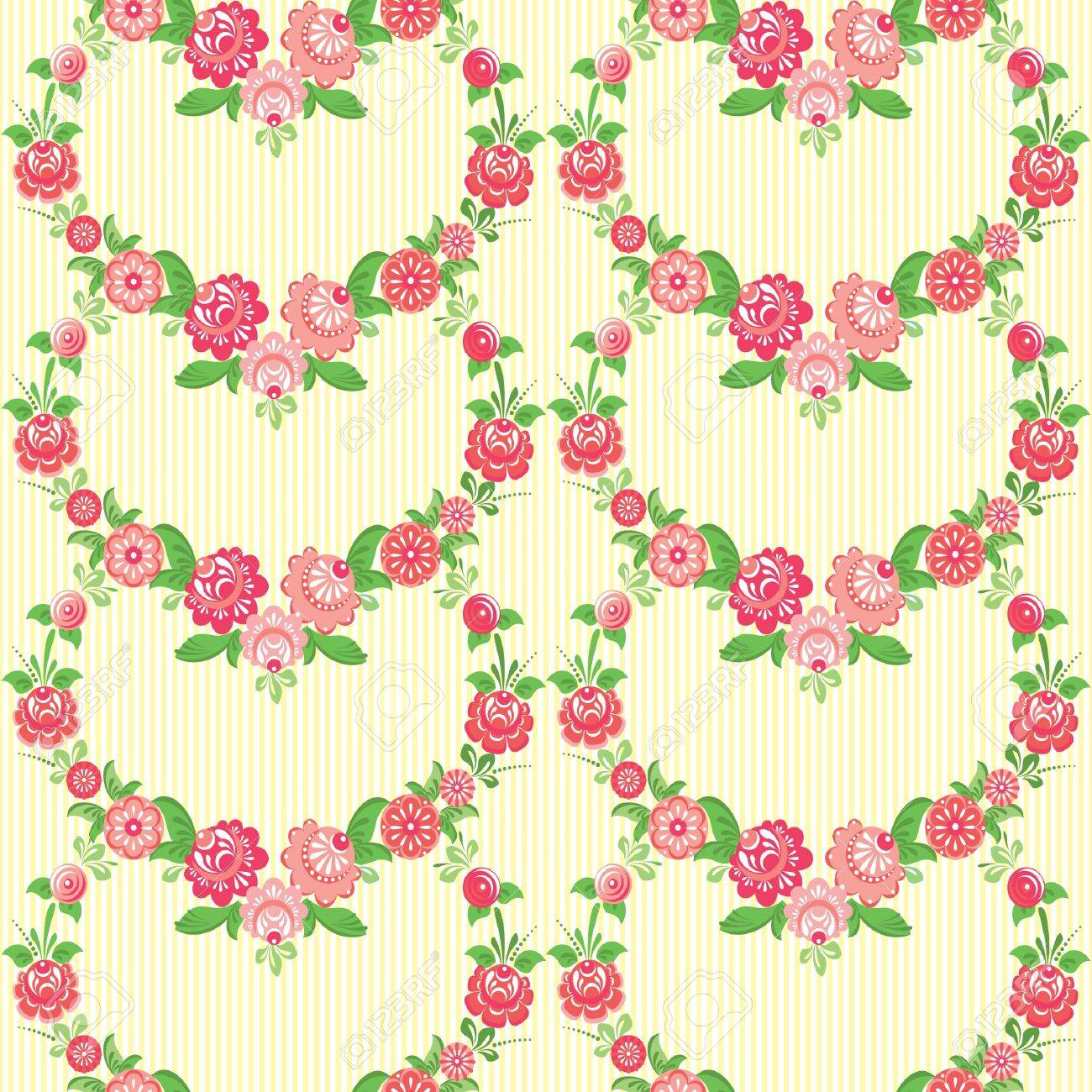 Classic Floral Wallpaper With Decorative Flowers Royalty Free