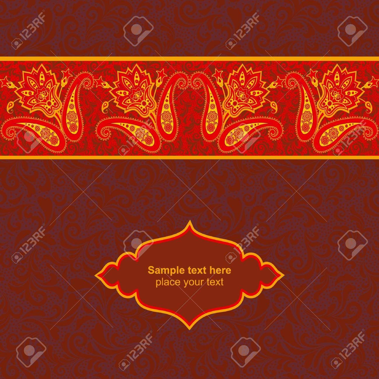 Floral ornamental card template Stock Vector - 17773690