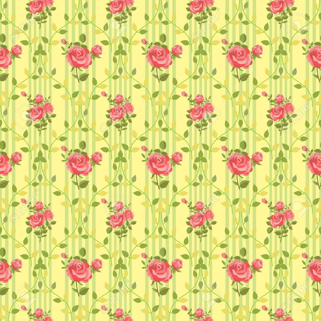 Blooming Rose Vintage Wallpaper Stock Vector