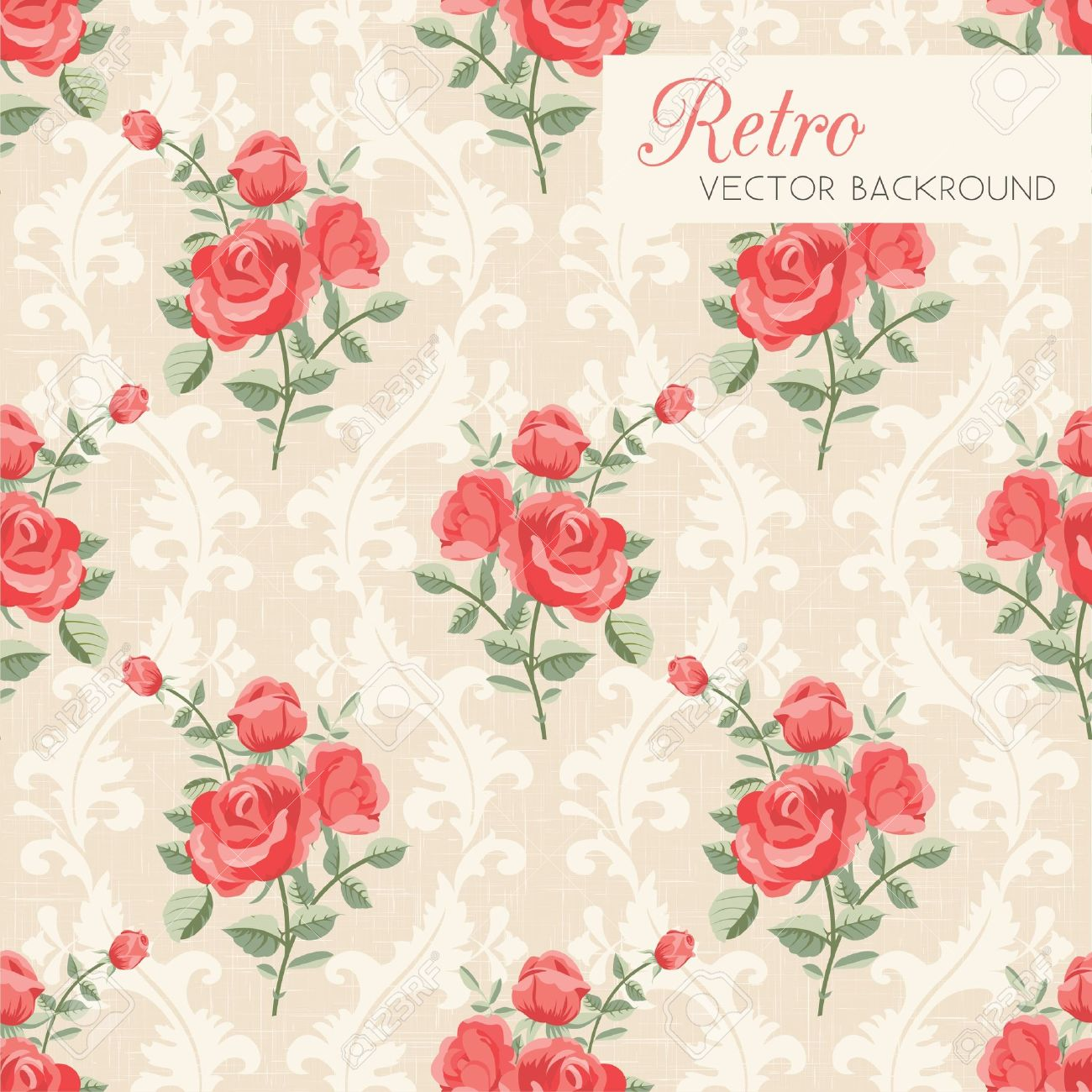 Rose classic seamless floral pattern Stock Vector - 18406049