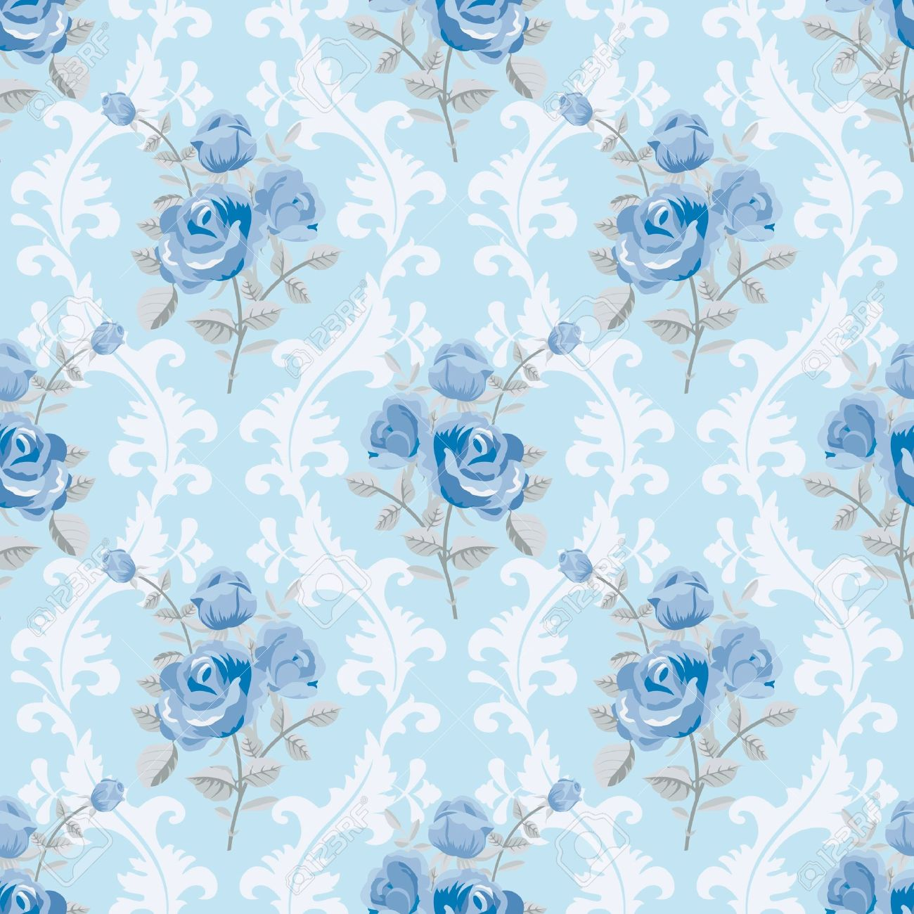 Blue Roses Floral Wallpaper Stock Vector