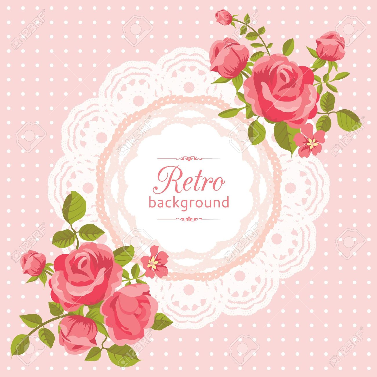 Pink flower card with roses in retro style Stock Vector - 18756329