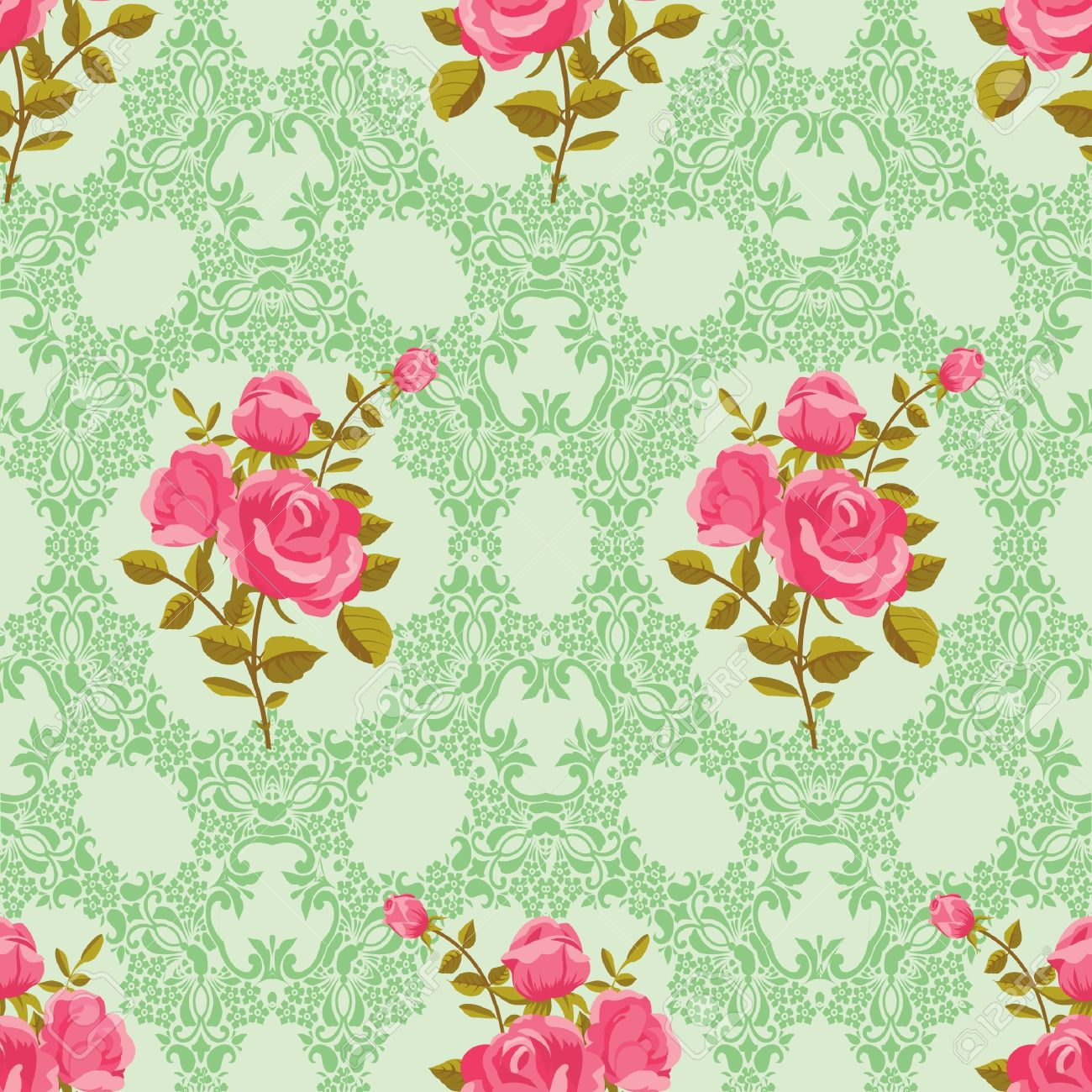 Vintage Rose Wallpaper Vector Vintage Wallpaper Rose