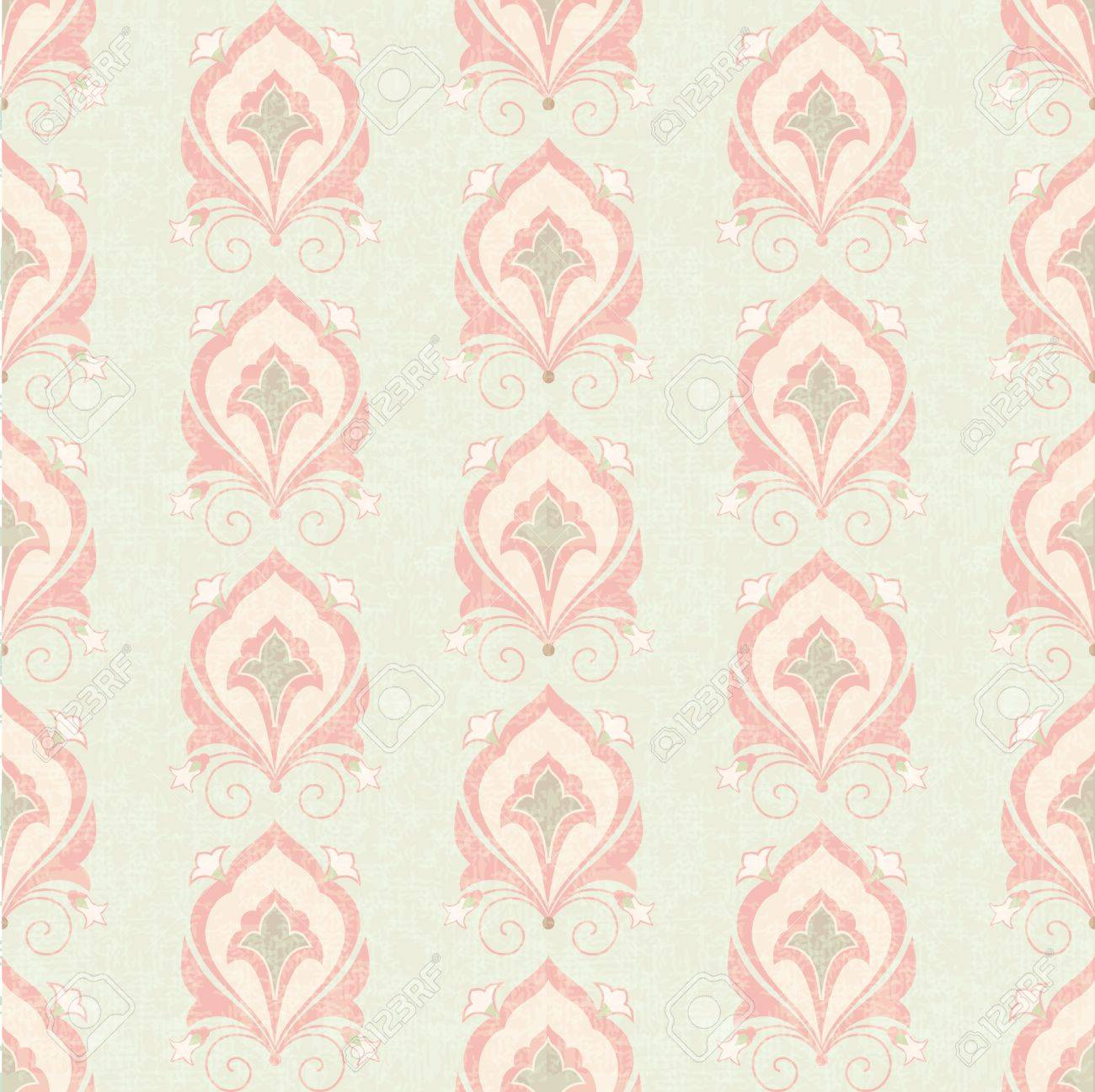 Old Classic Floral Seamless Wallpaper Royalty Free Cliparts