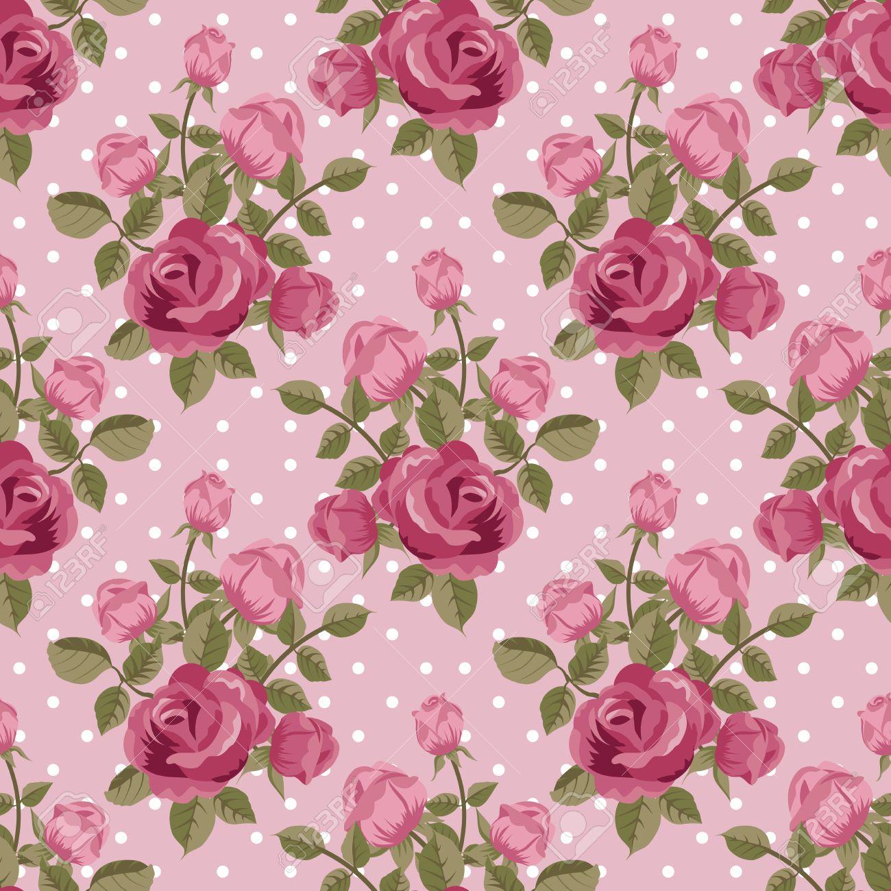 Pink rose wallpaper seamless pattern Stock Vector - 29844140
