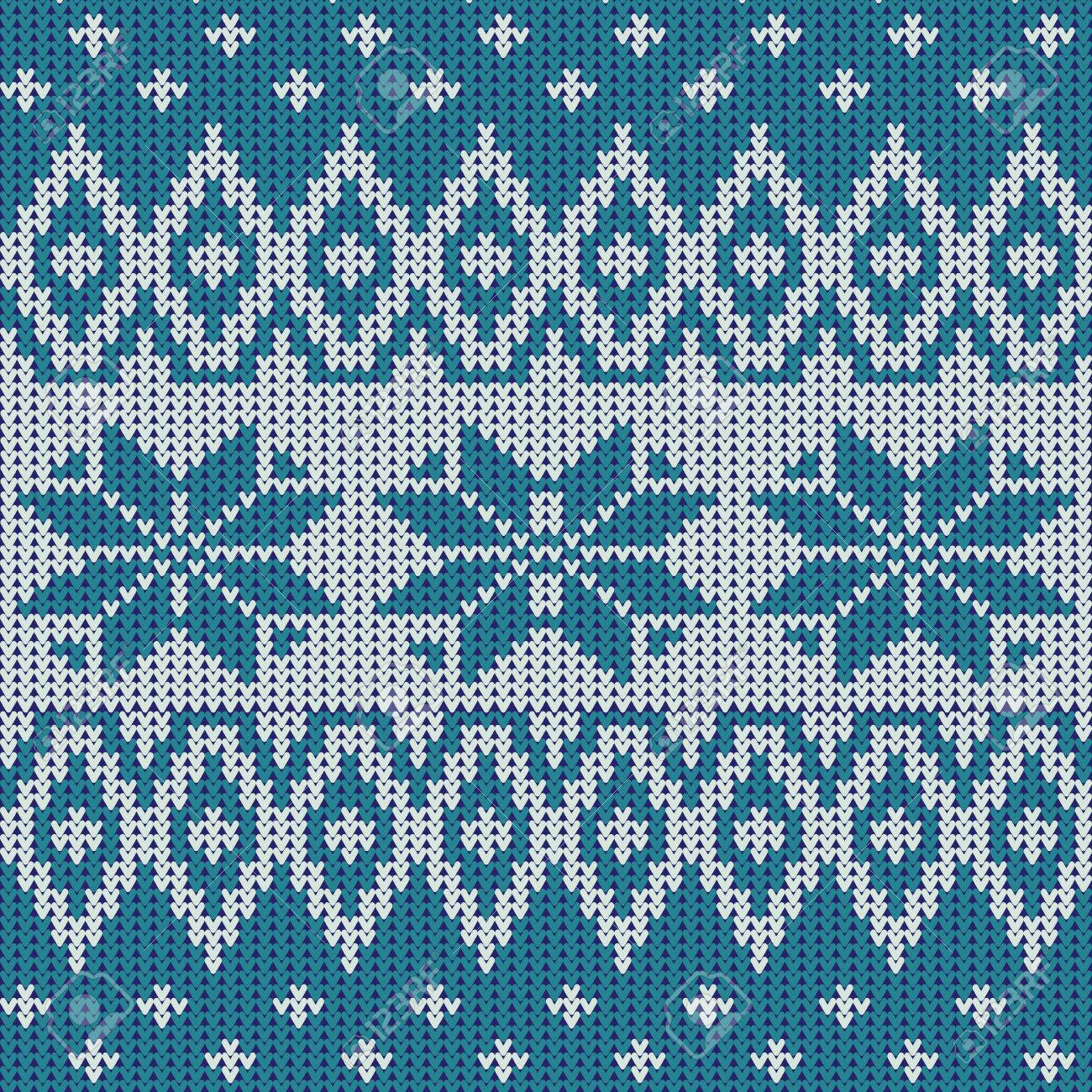 Nordic Knitted Pattern With Snowflakes Royalty Free Cliparts ...