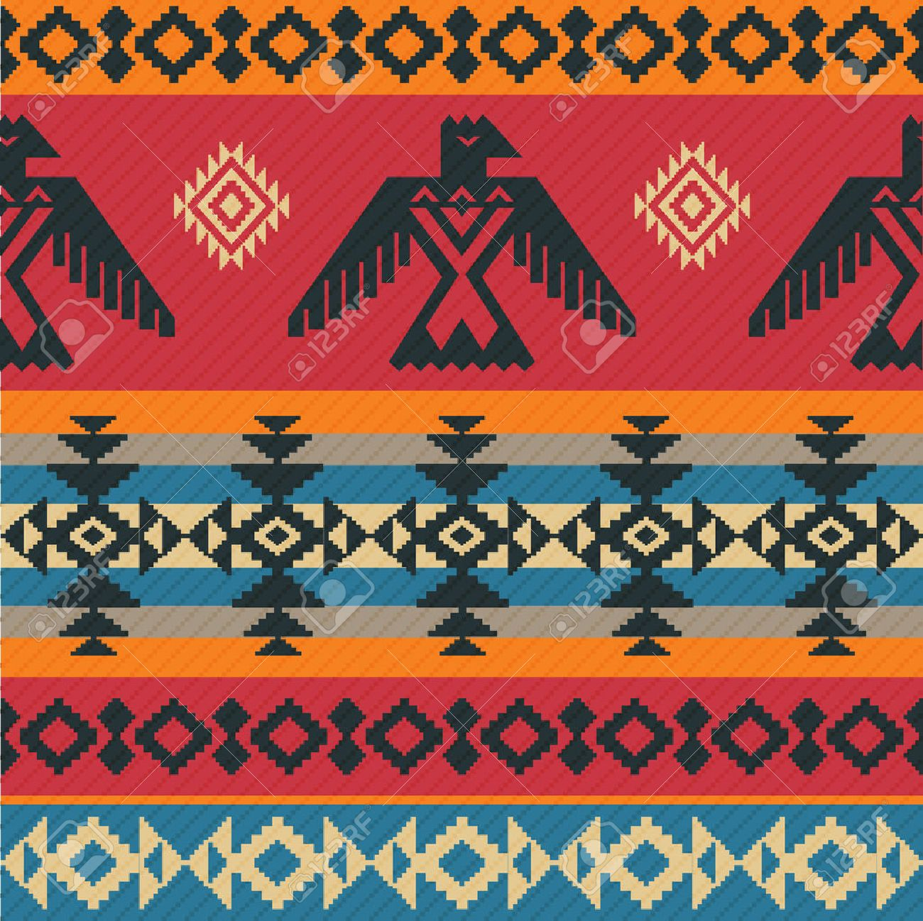 Eagles ethnic geometric tribal vector pattern on native american style - 40969990