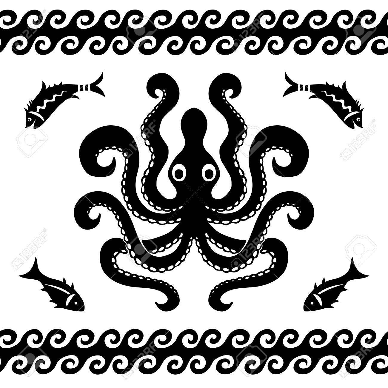 Pulpo Y Siluetas Mar Modelo Peces Ilustración Vectorial Decorativo ...