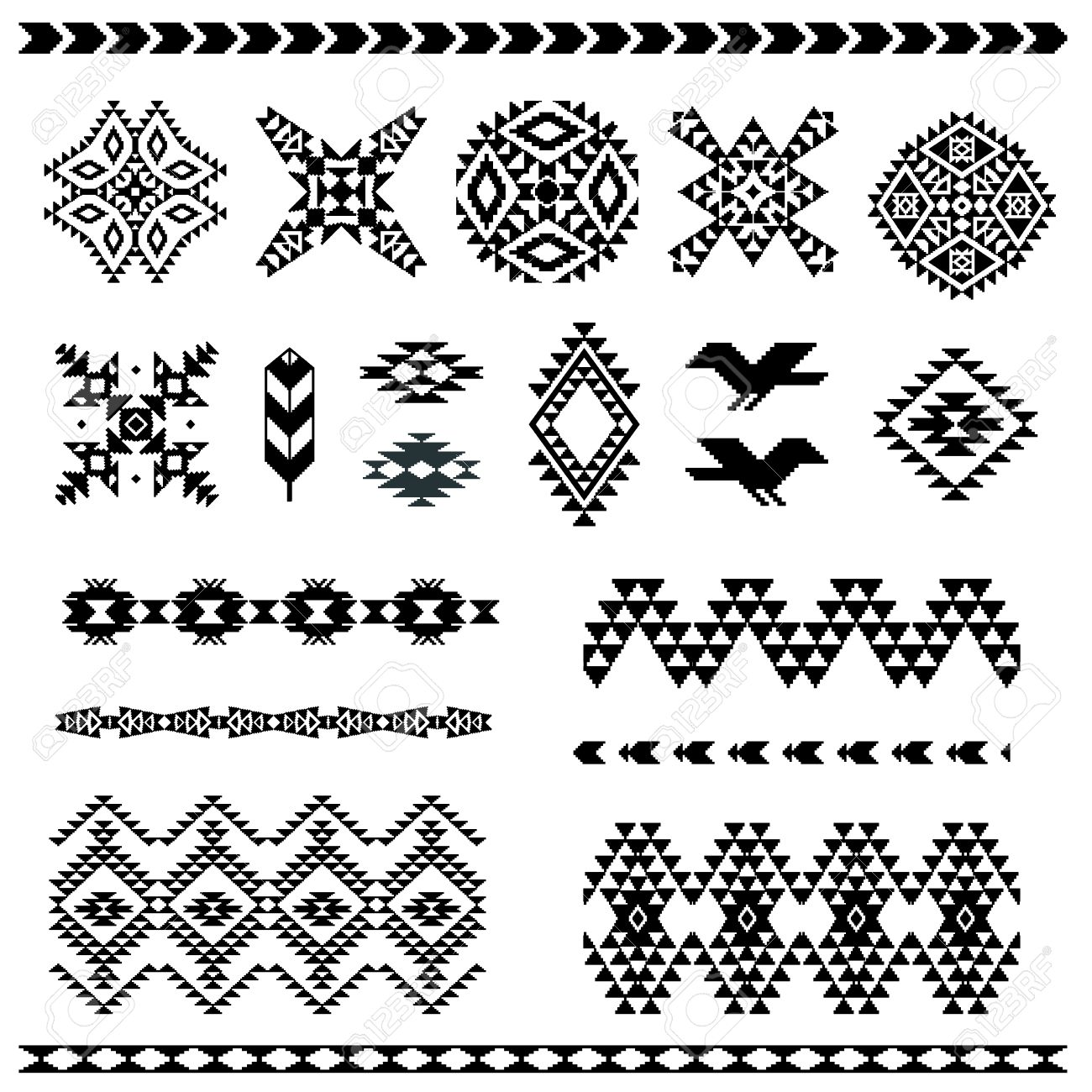 navajo designs patterns. Set Of Navajo Pattern Elements For Your Design Stock Vector - 45855933 Designs Patterns
