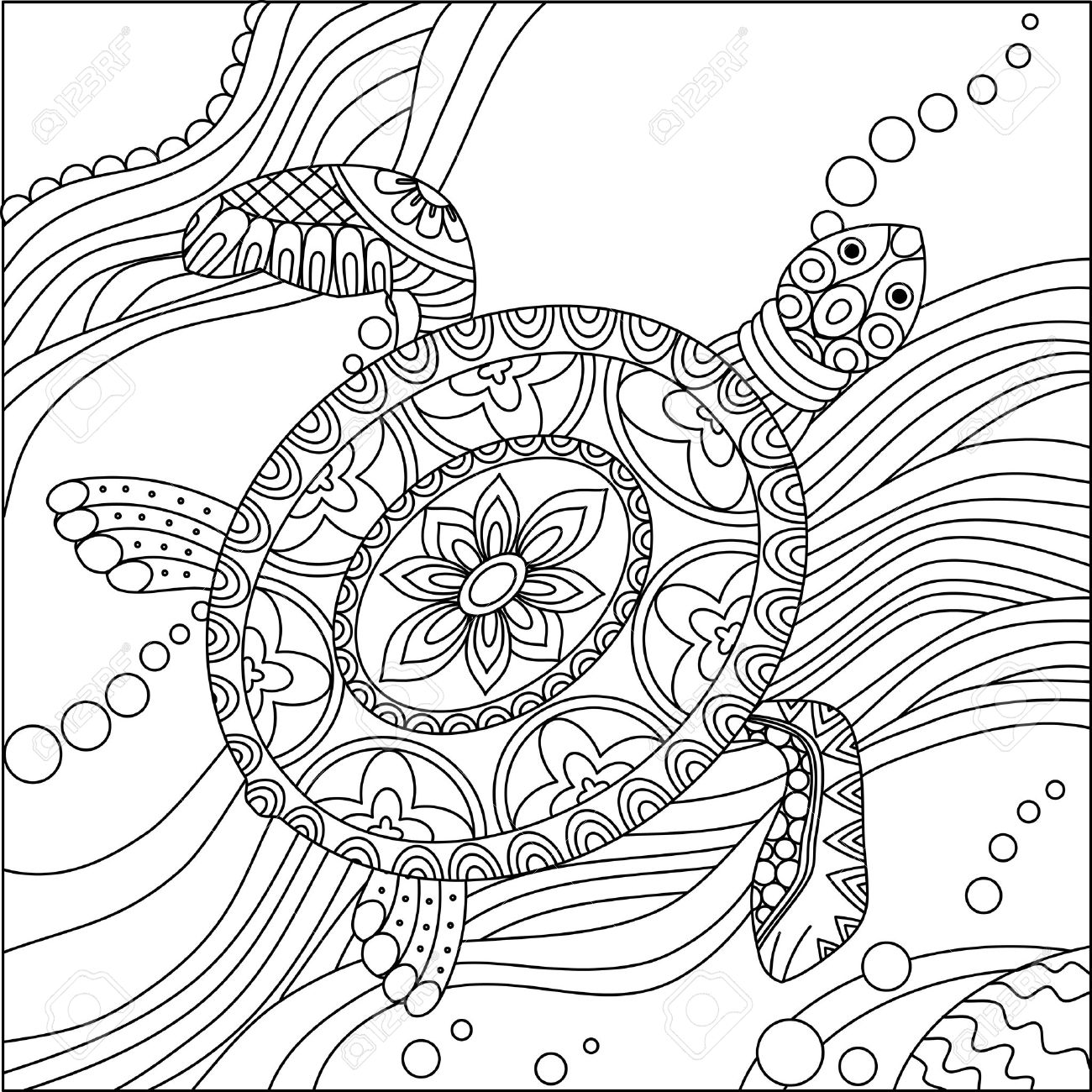 Sea Turtle Doodle Hand Drawn Vector Illustration Coloring Book Pages For Kids And Adults