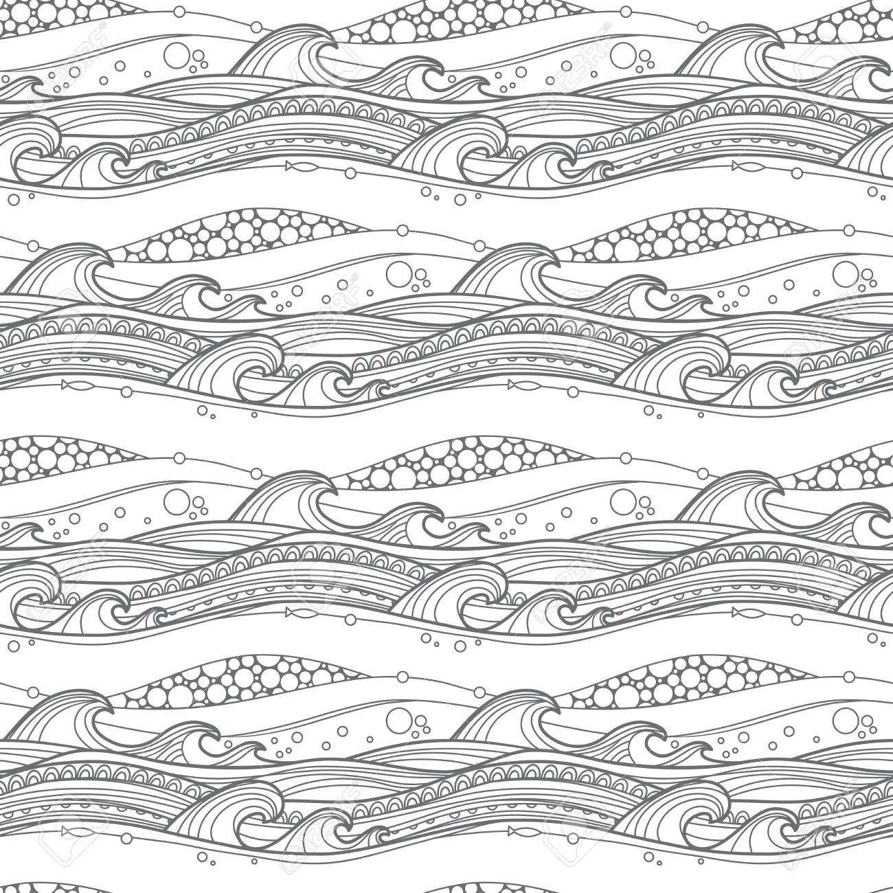 Sea Waves Seamless Pattern. For Coloring Pages, Backgrounds ...