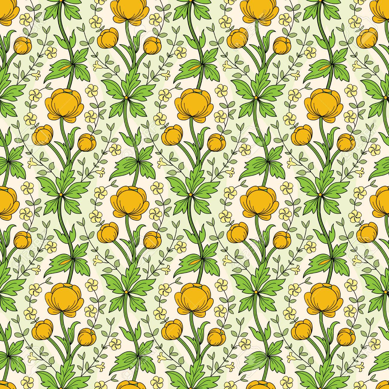 Vintage Floral Wallpaper With Yellow Globe Flowers And Periwinkle