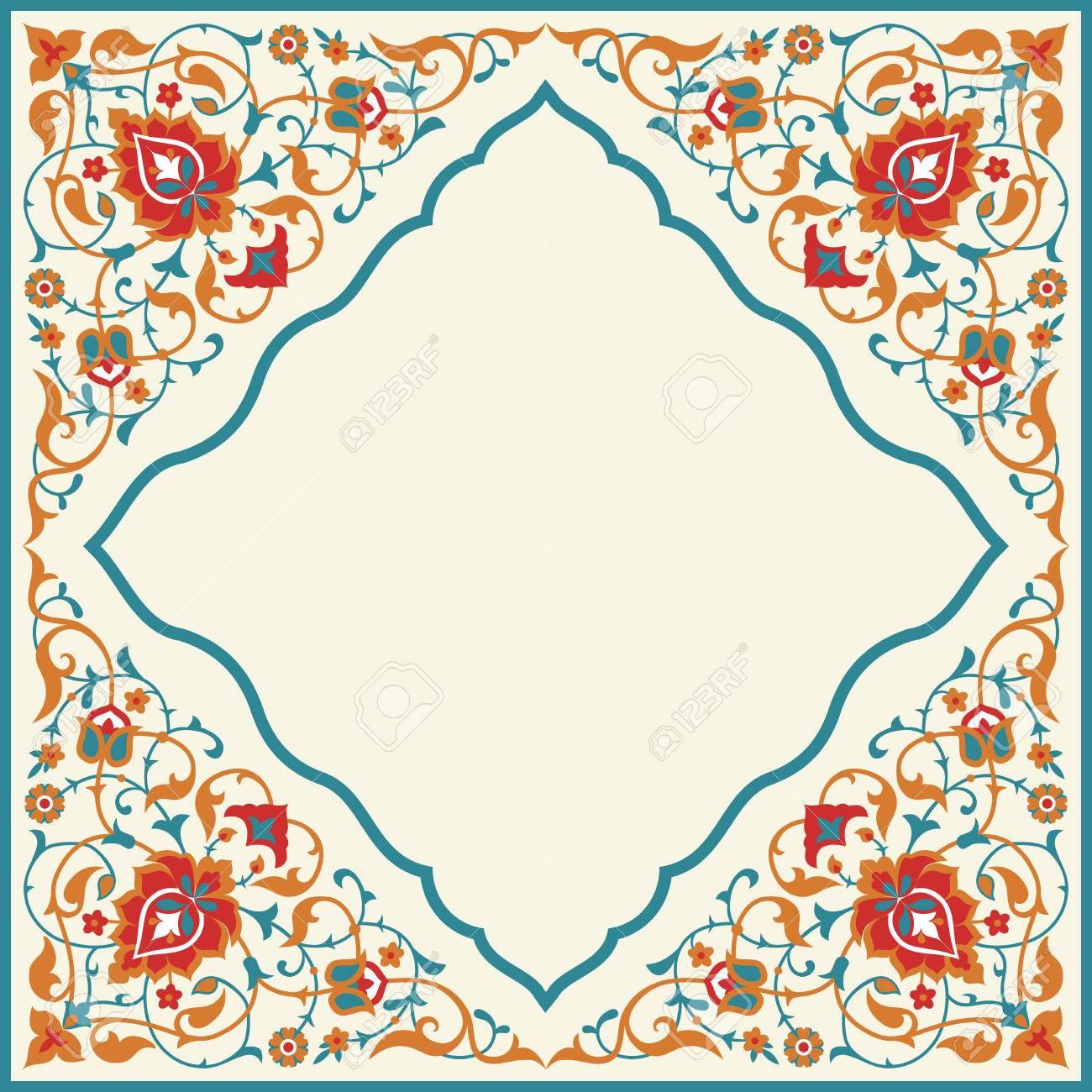 Ornate vintage frame in arabian style template design for greeting ornate vintage frame in arabian style template design for greeting card invitation poster stopboris Images