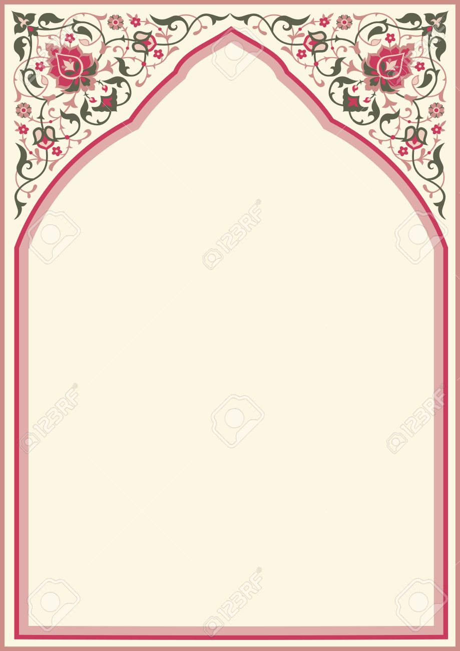 Traditional floral arch frame in arabic style. Template design for Ramadan Kareem greeting card, invitation, poster. Floral oriental decor, place for text, A4 page size - 63424629