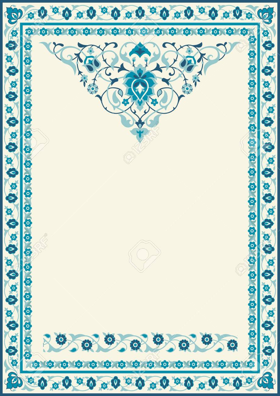 Fabric floral frame in blue for cards muslim invitations and for cards muslim invitations and decor for brochure stopboris Choice Image