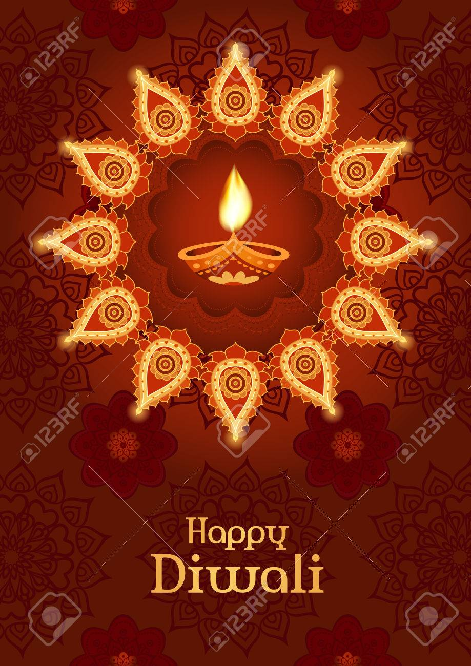 Diwali Festival. Template For Greeting Card, Poster, Design Royalty ...