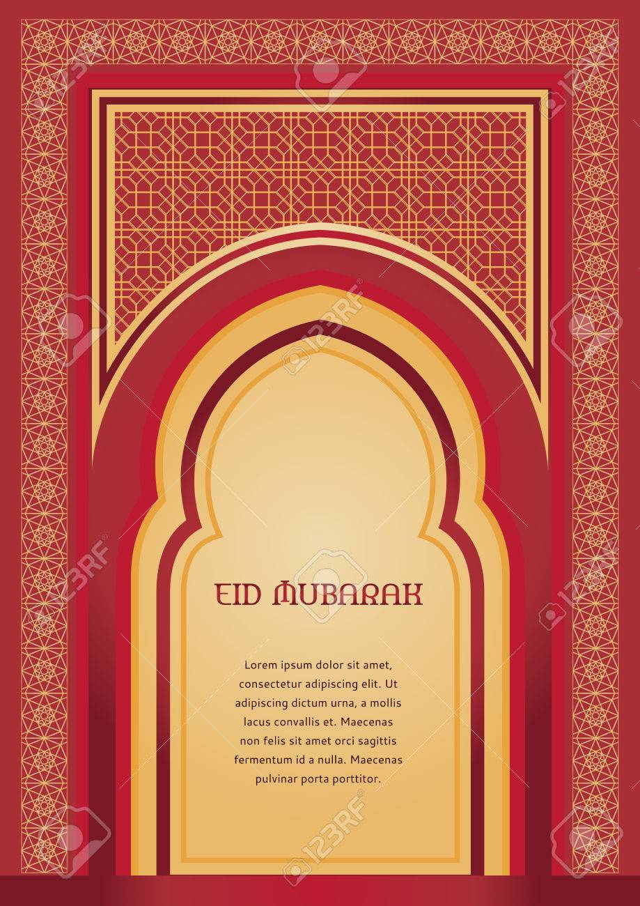 Eid mubarak traditional muslim greeting islamic arch arabic eid mubarak traditional muslim greeting islamic arch arabic ornamental background in red and gold m4hsunfo