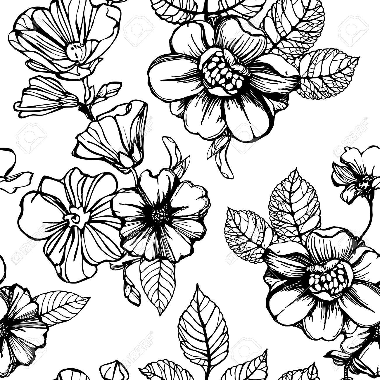 Black and white flowers seamless pattern royalty free klipartlar black and white flowers seamless pattern stok fotoraf 77160545 mightylinksfo