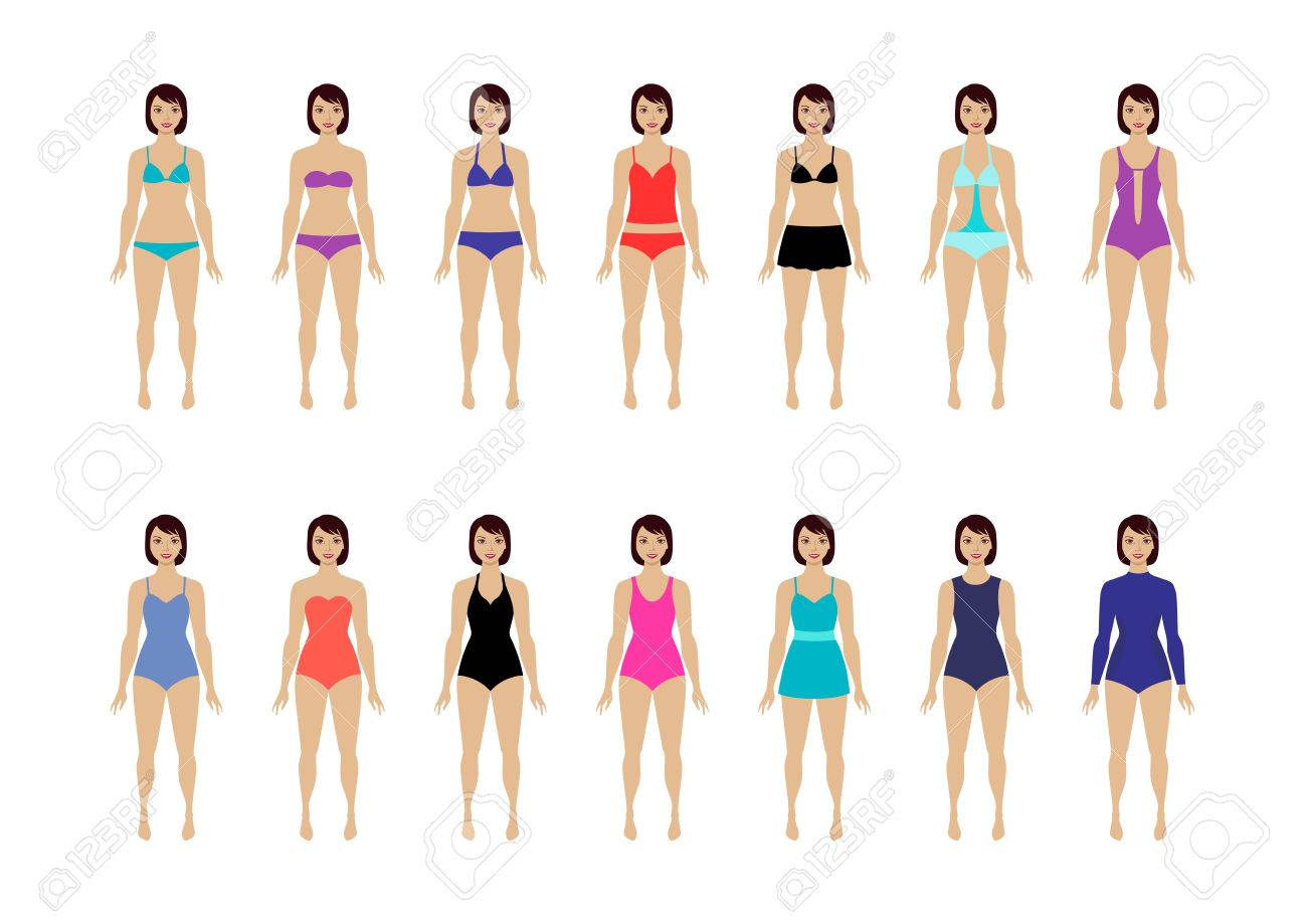 6c935fee90 Collection of female swimsuit. Different types of swimwear Stock Vector -  77160548