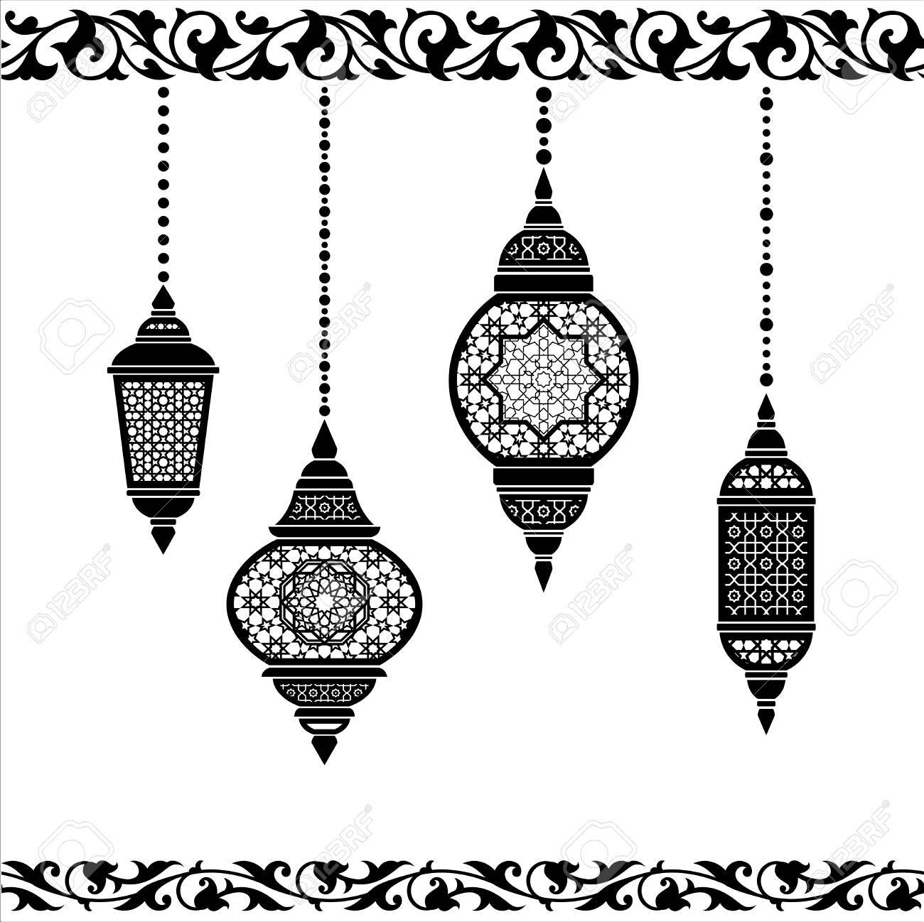 ramadan lantern pattern  Ramadan lantern in black and white. Greeting card template