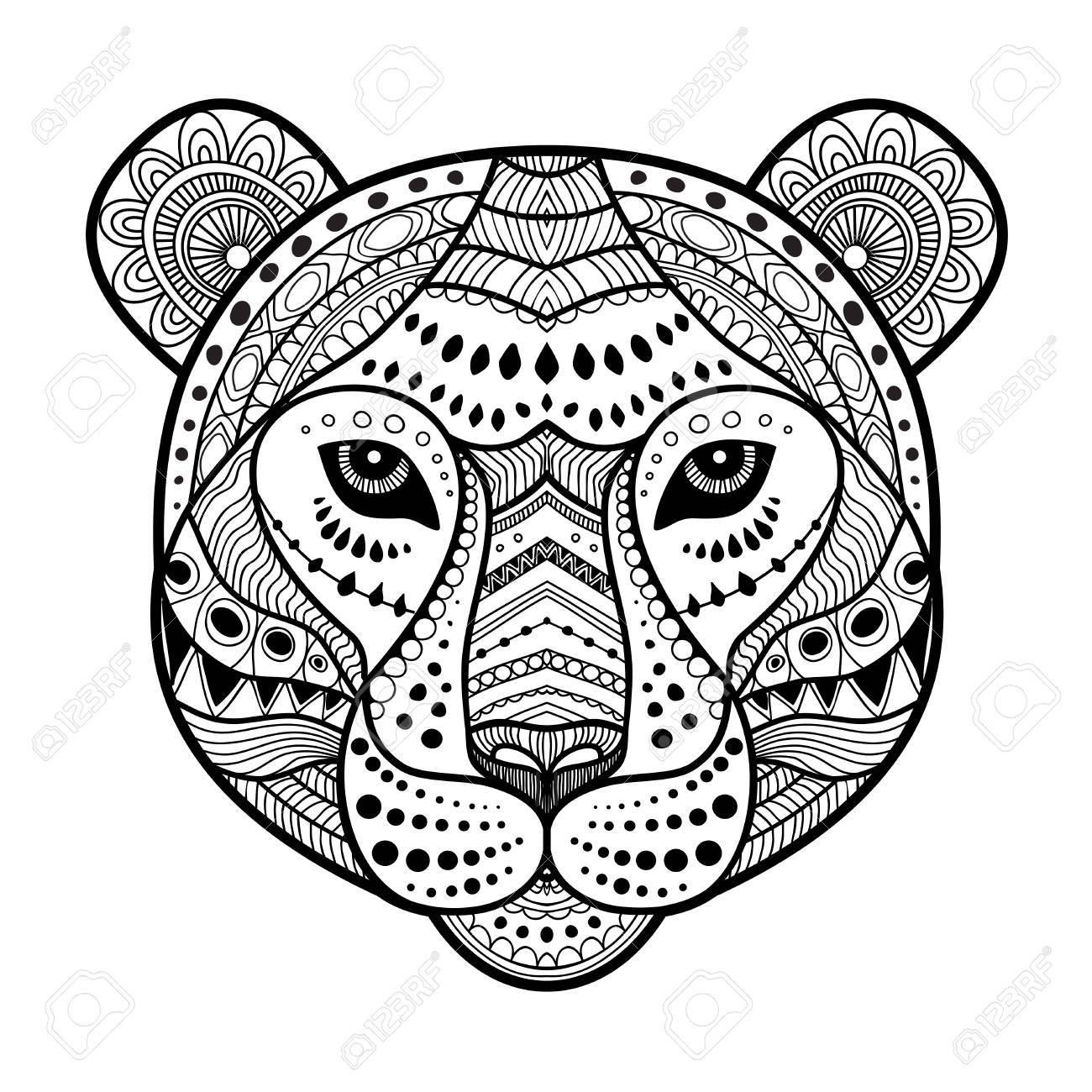 Illustration De Style Art Tête Zen Tigre Imprimer En Noir Et Blanc Coloriage Adulte