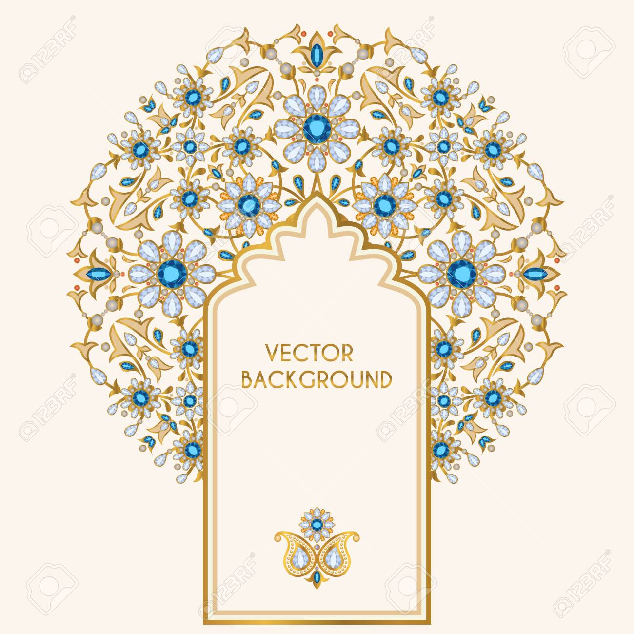 Ornate Vector Background Template For Design Of Greeting Card