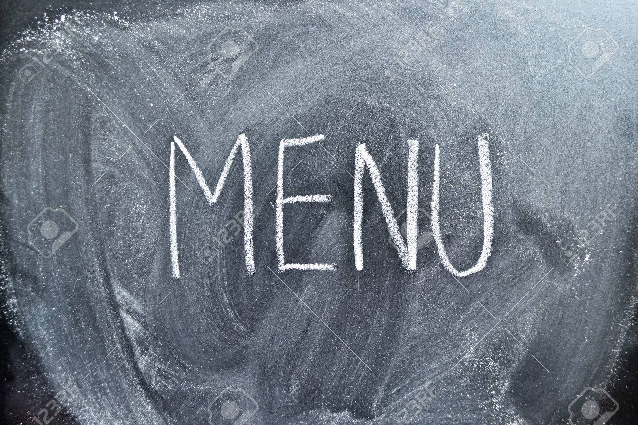 The Word Menu On A Blackboard, Background Stock Photo, Picture And ...