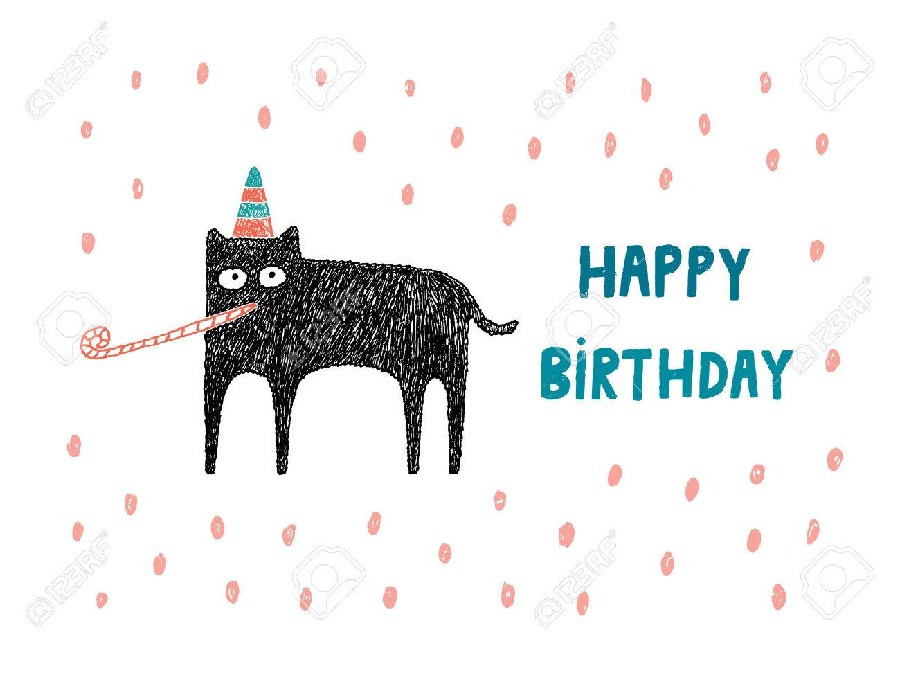 Happy Birthday Card Cat With Hat And Party Blower Illustration Stock Vector