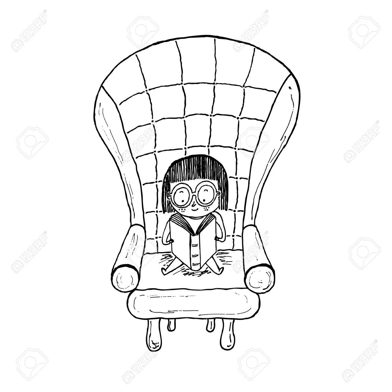 Superb Little Girl Reading Sitting On A Sofa Black And White Hand Drawn Bralicious Painted Fabric Chair Ideas Braliciousco
