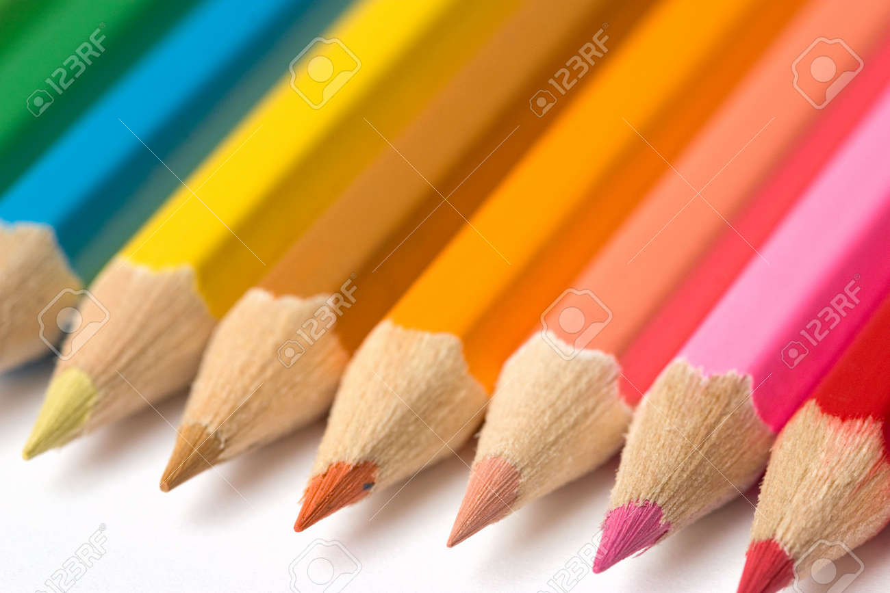 thick colored pencils against a white background color Stock Photo - 514975