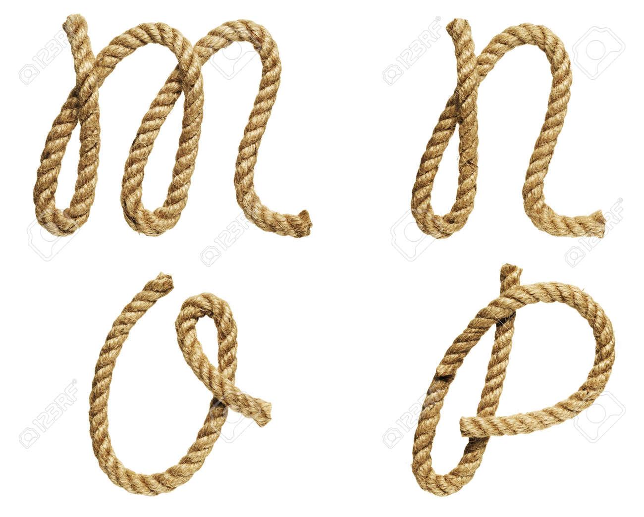 old natural fiber rope bent in the form of letter M, N, O, P