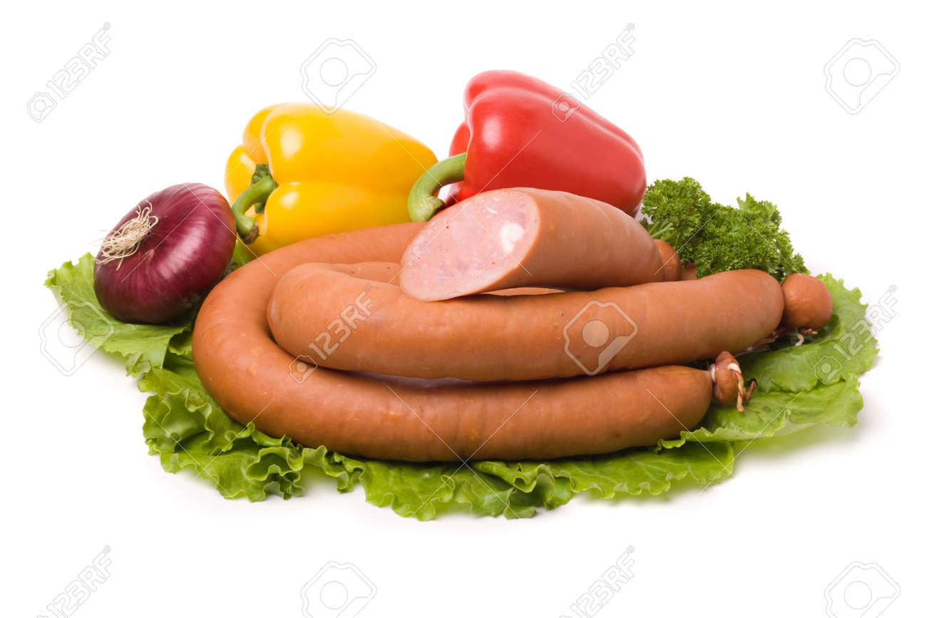 Tasty sausages on the white background Stock Photo - 4020580