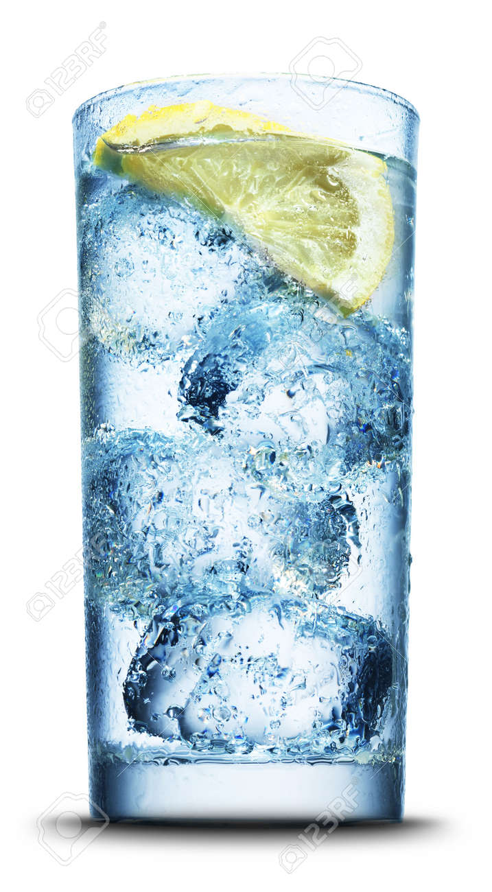Drink with ice and lemon slice close-up isolated on white Stock Photo - 4436437