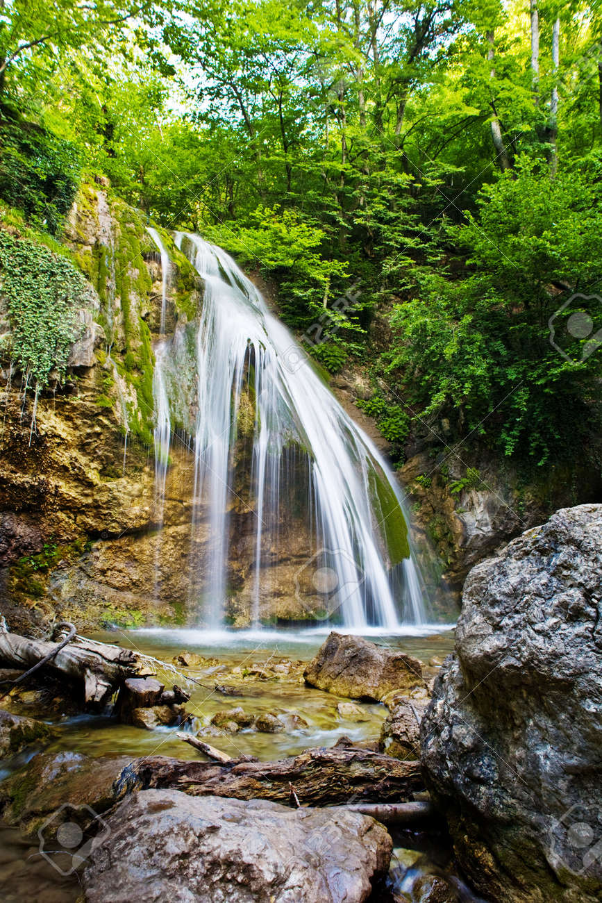 The beautiful waterfall in forest, spring, long exposure Stock Photo - 4714322