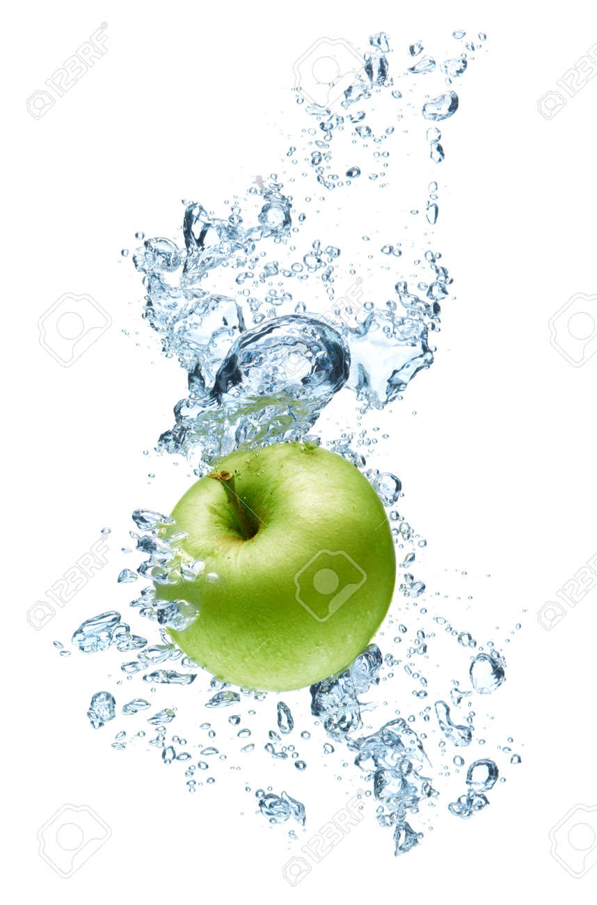 green apple transparent. green apple under water with a trail of transparent bubbles. stock photo - 7501459