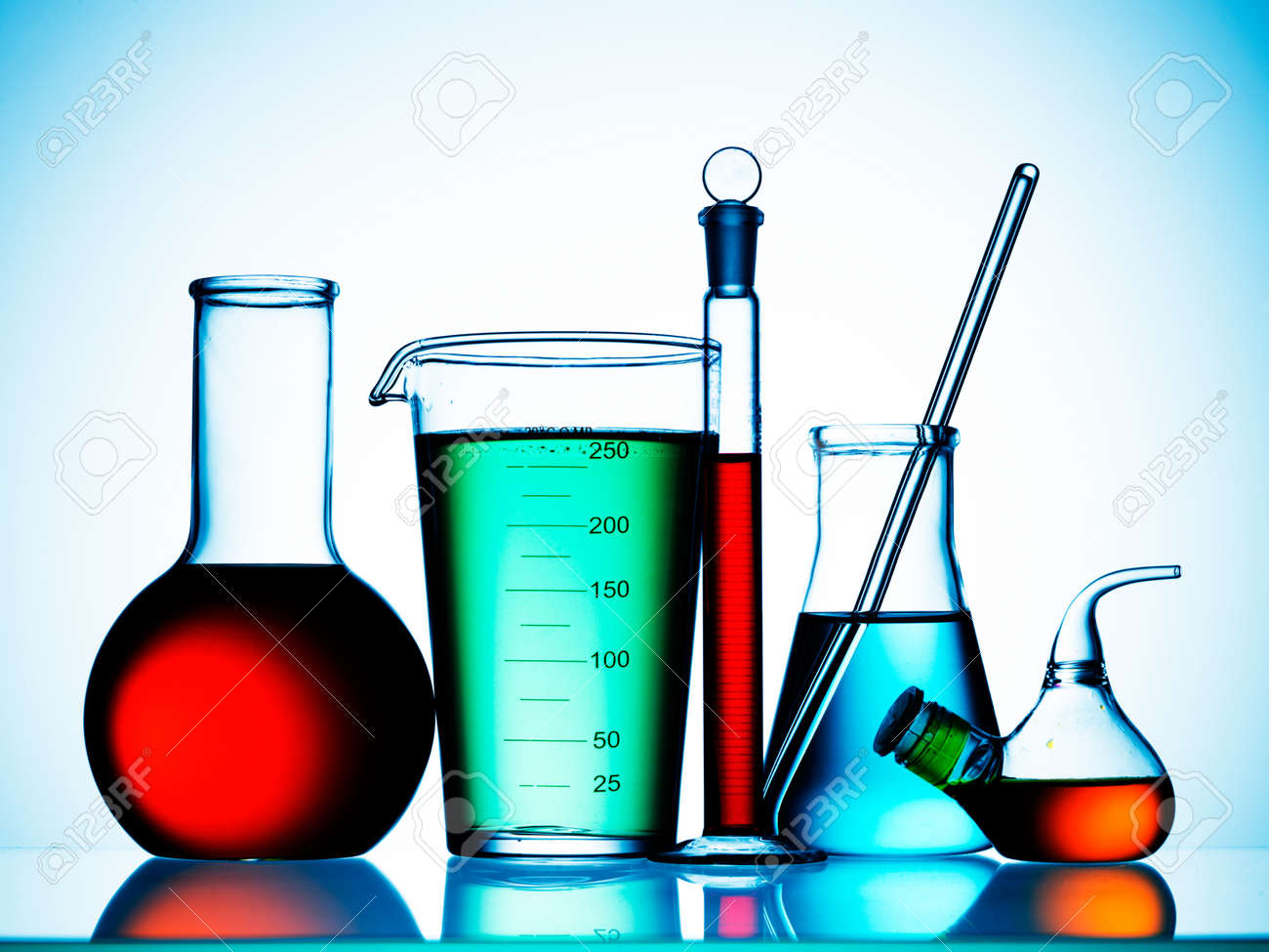 Assorted Laboratory Glassware Equipment Ready For An Experiment ...
