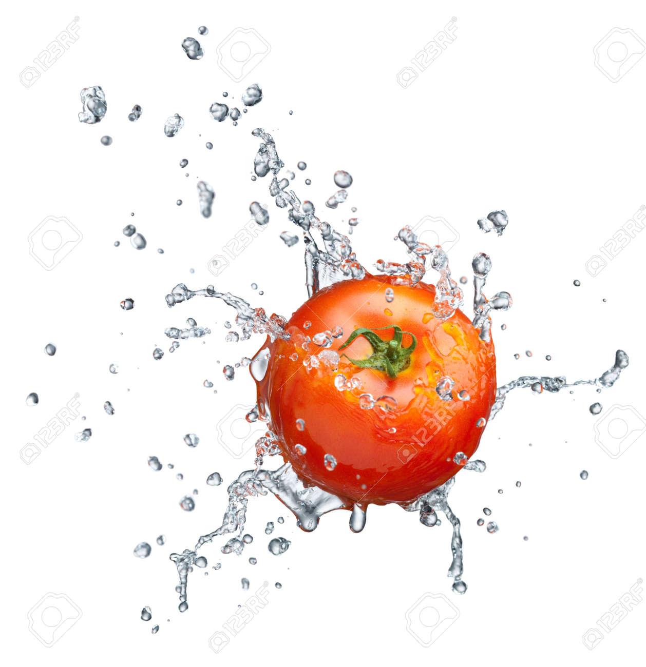 Tomato in spray of water. Juicy tomato with splash on white background Stock Photo - 7991520