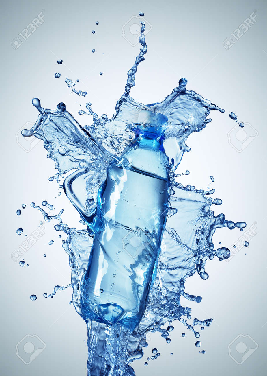 Bottle with pure water and splash around it Stock Photo - 7991942