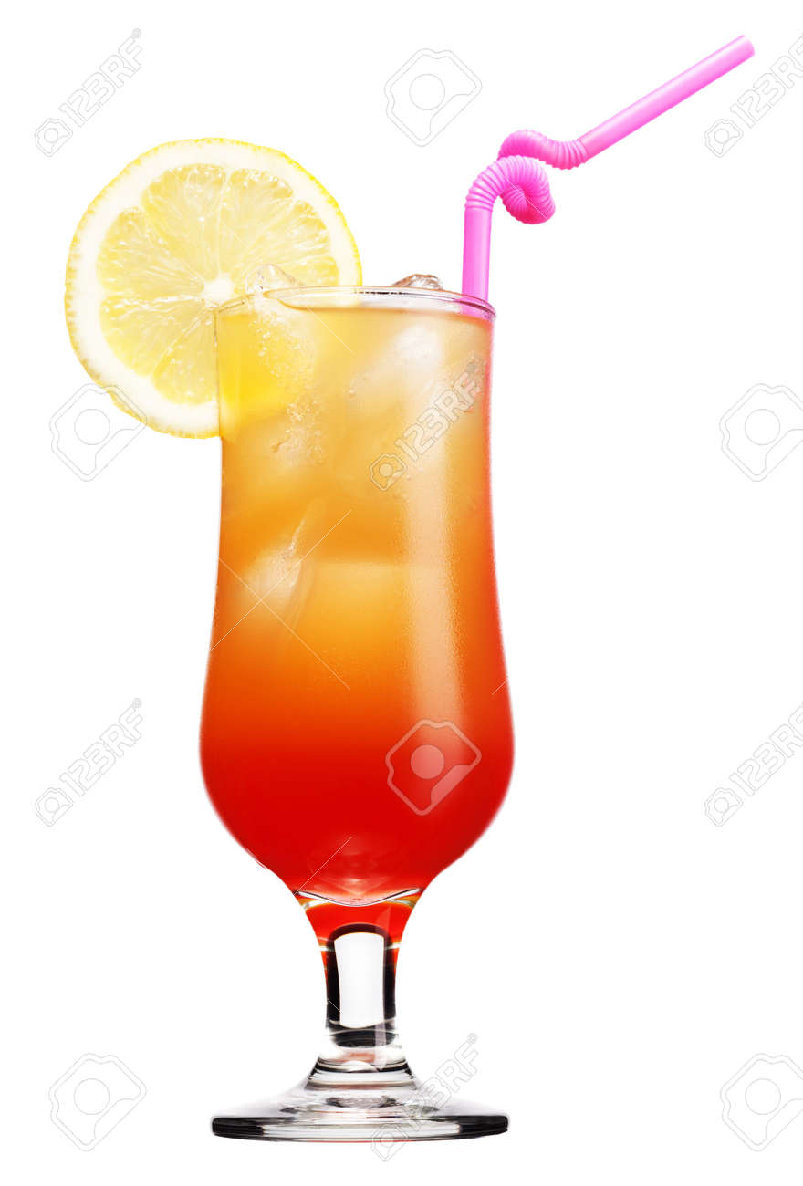 Tequila sunrise cocktail  Tequila Sunrise Cocktail Isolated On A White Background Stock ...