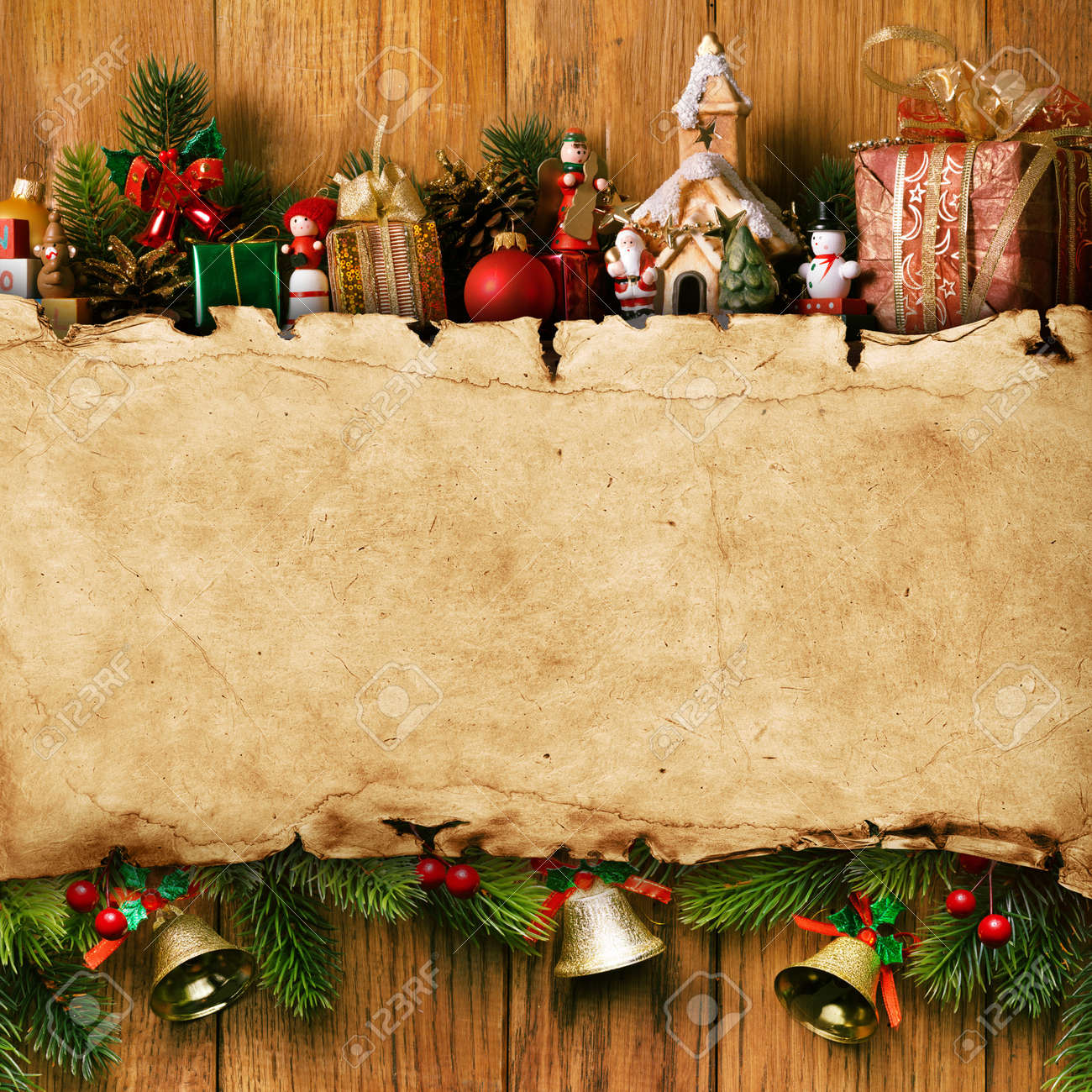 Christmas Wood Background.Home Made Christmas Decoration And Vintage Paper On The Wood