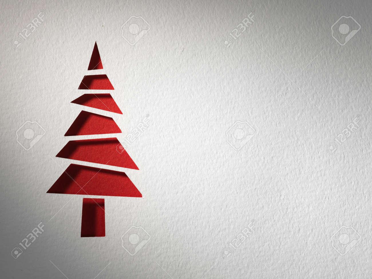 Cristmas tree paper cutting design card. Stock Photo - 17461367