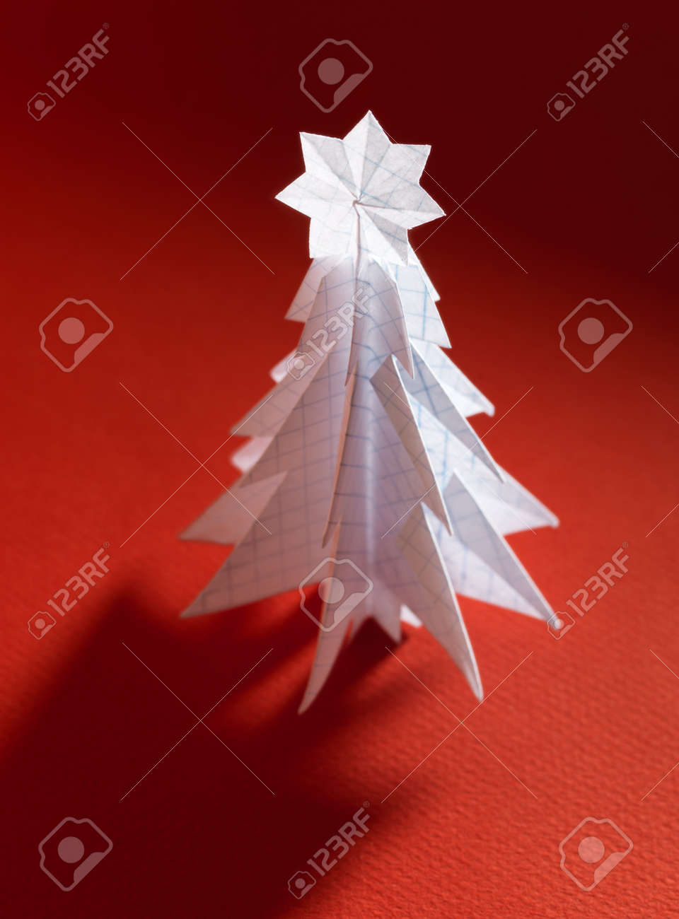 Christmas Trees Made Of Paper On Red Background. Christmas Card ...