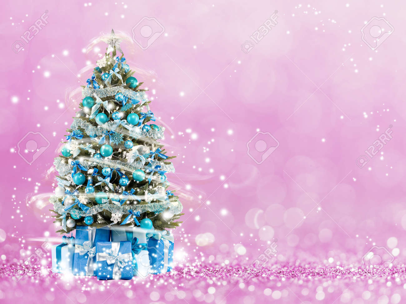 Christmas Tree From The Xmas Lights Play With Light Pink Bokeh Background Stock Photo