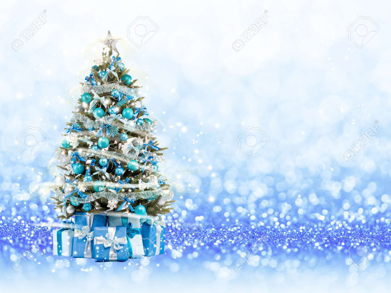 Christmas Tree From The Xmas Lights Play With The Light Blue Stock Photo Picture And Royalty Free Image Image 49266876