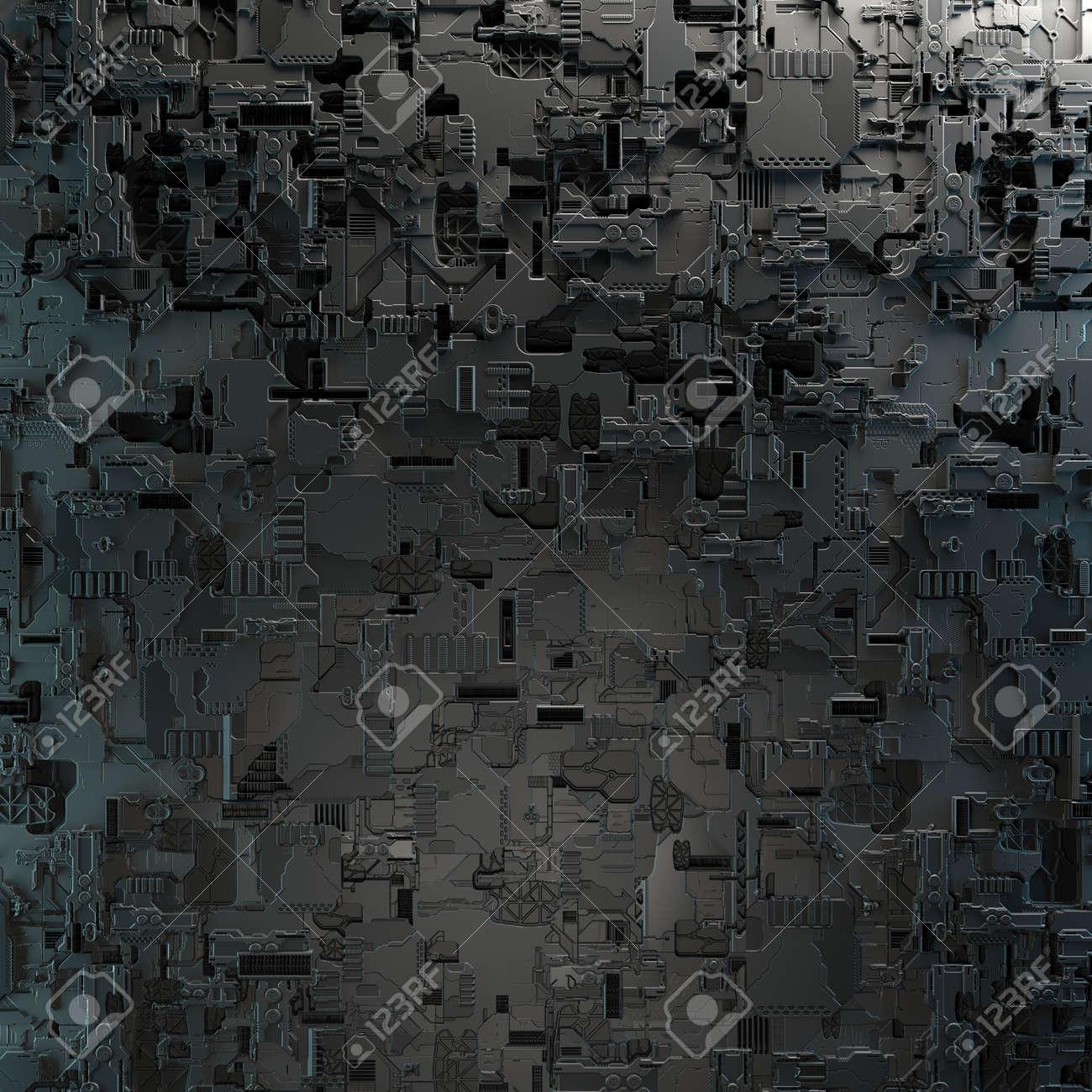 SciFi Panels. Futuristic texture. Spaceship hull geometric pattern. - 140882943