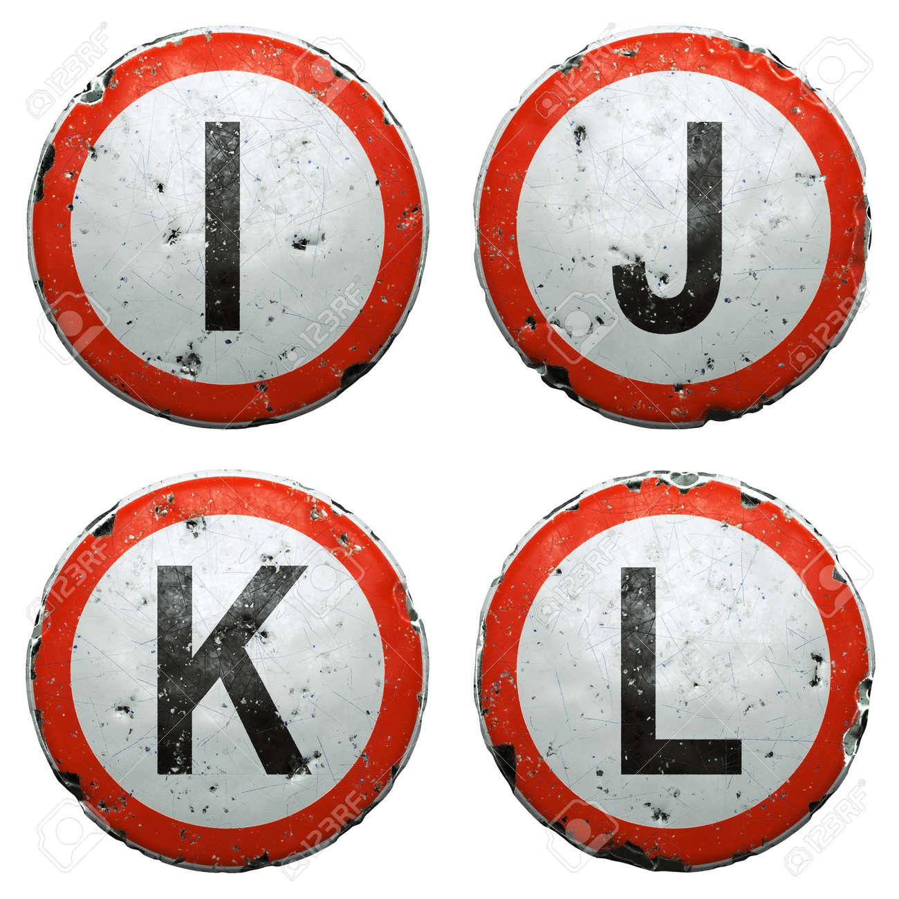 Set of public road signs in red and white with a capitol letters I, J, K, L in the center isolated on white background. 3d - 169586200